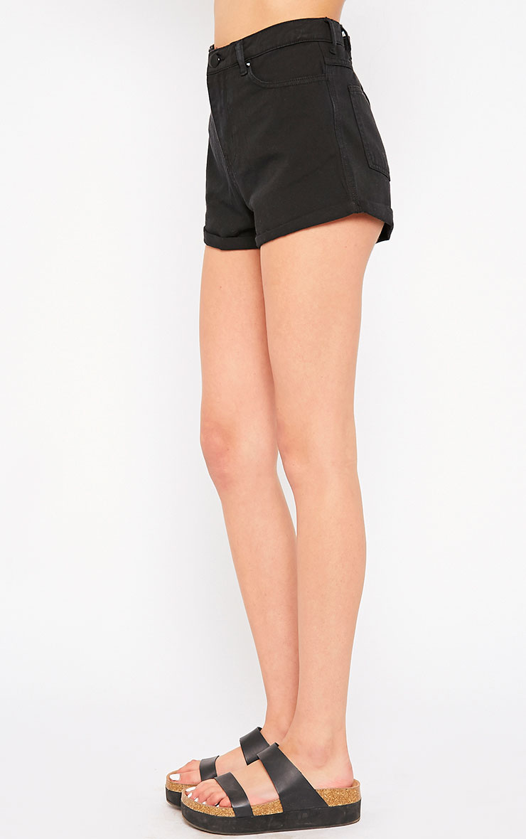 Maslynn Black Plain High Waisted Shorts 3