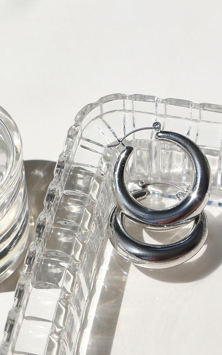 Silver Hoop Chunky Earrings 2