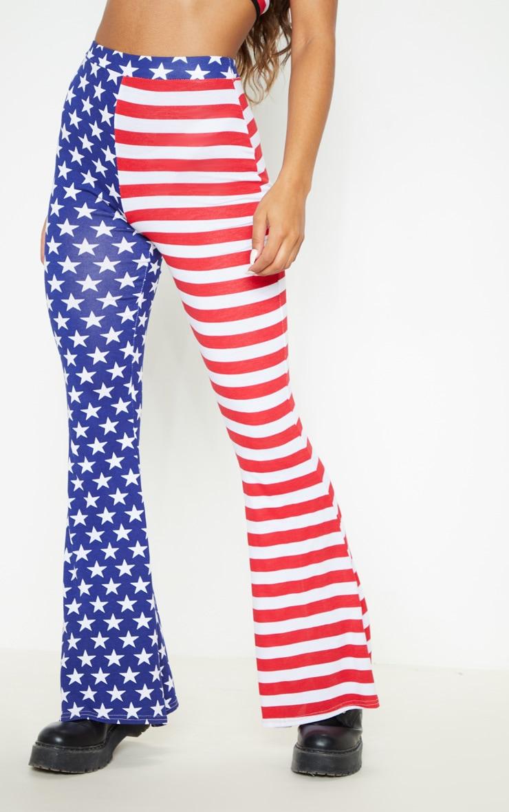 Multi American Flag Printed Flare Leg Pants 3