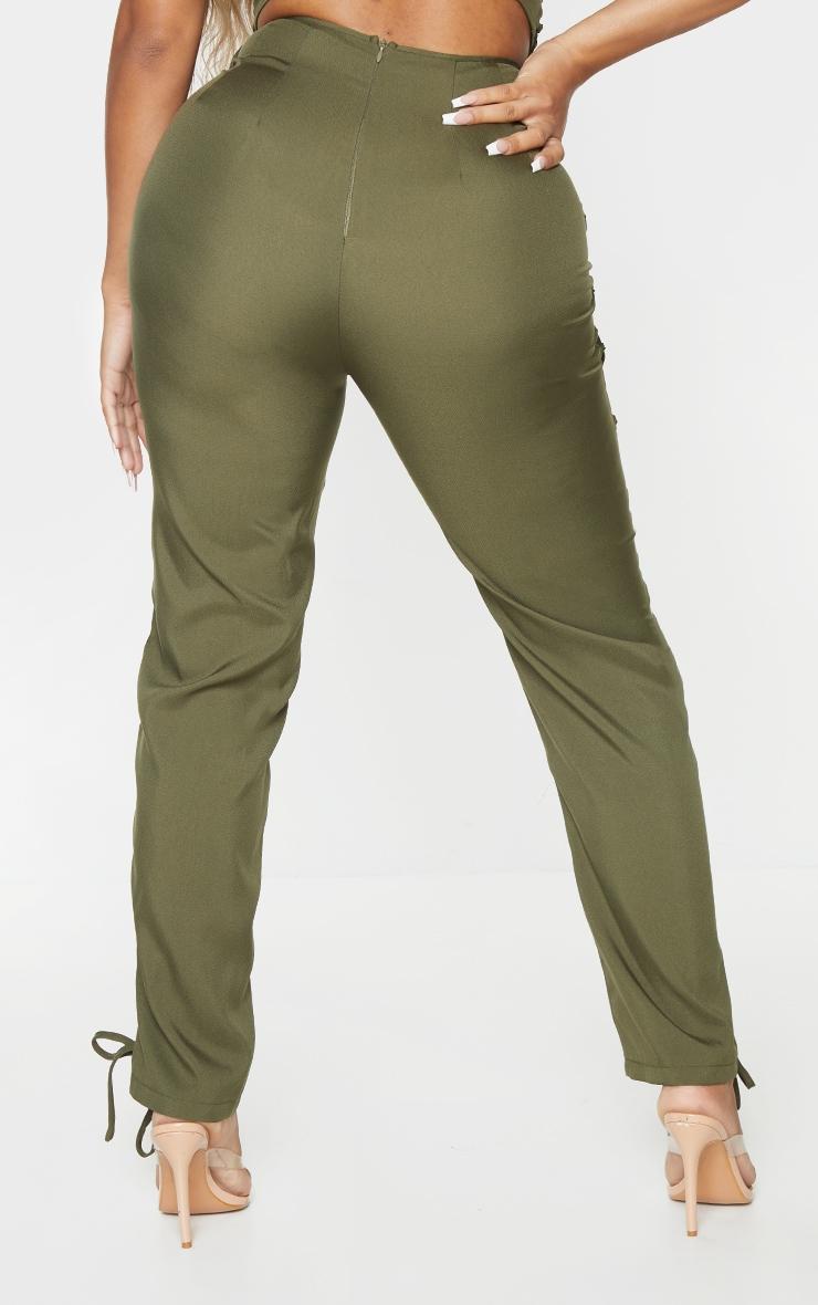 Shape Khaki Lace Up Detail Skinny Pants 3