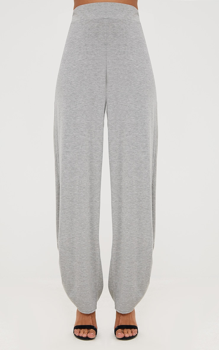 Grey Marl Jersey Ruche Hem Wide Leg Joggers 2