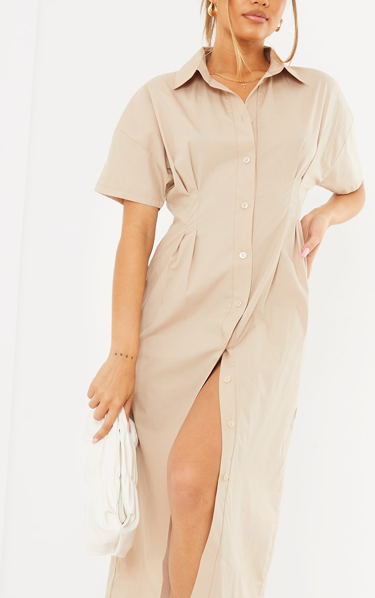 Stone Fitted Waist Short Sleeve Midi Shirt Dress 4