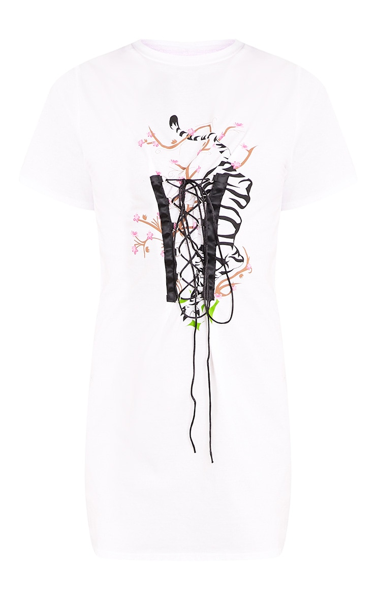 Tiger Print White Corset T Shirt Dress  3