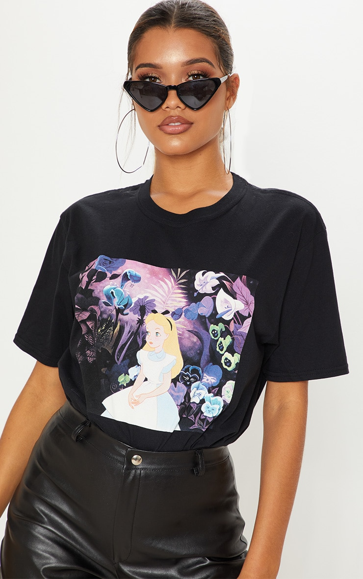 Black Alice In Wonderland Disney Oversized T shirt 2