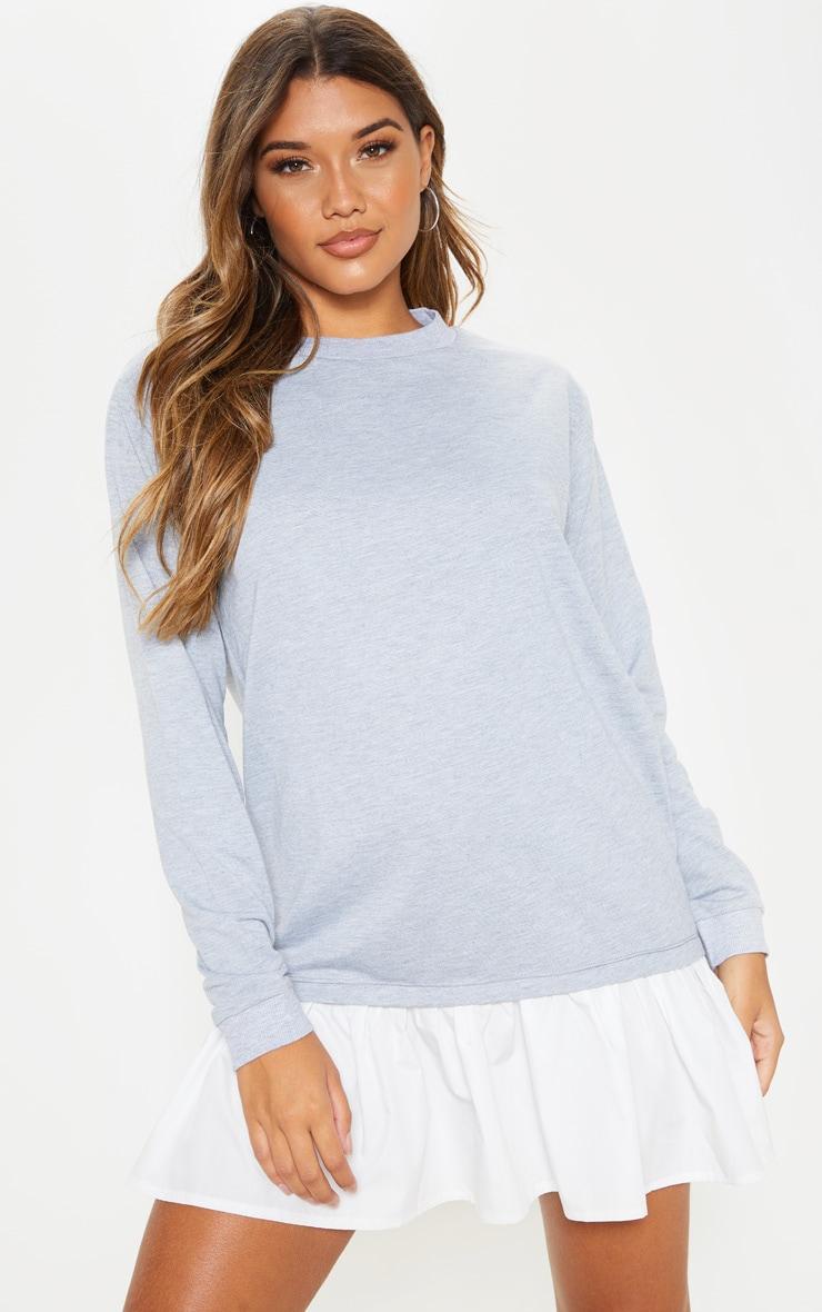 Grey Sweater Dress with Poplin Frill 1
