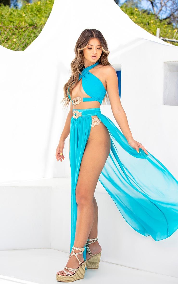 Teal Halterneck Diamante Jewel Bikini Top 5