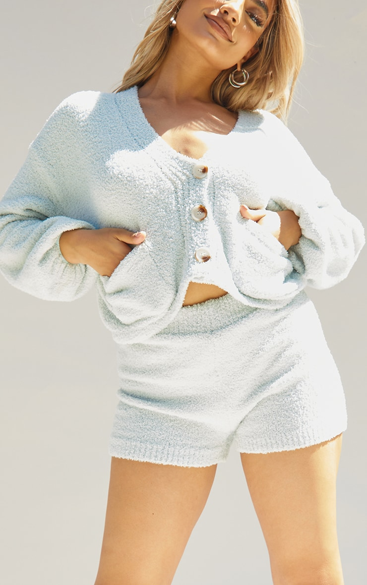 Petite Sage Green Fluffy Knitted Slouchy Cardigan 4