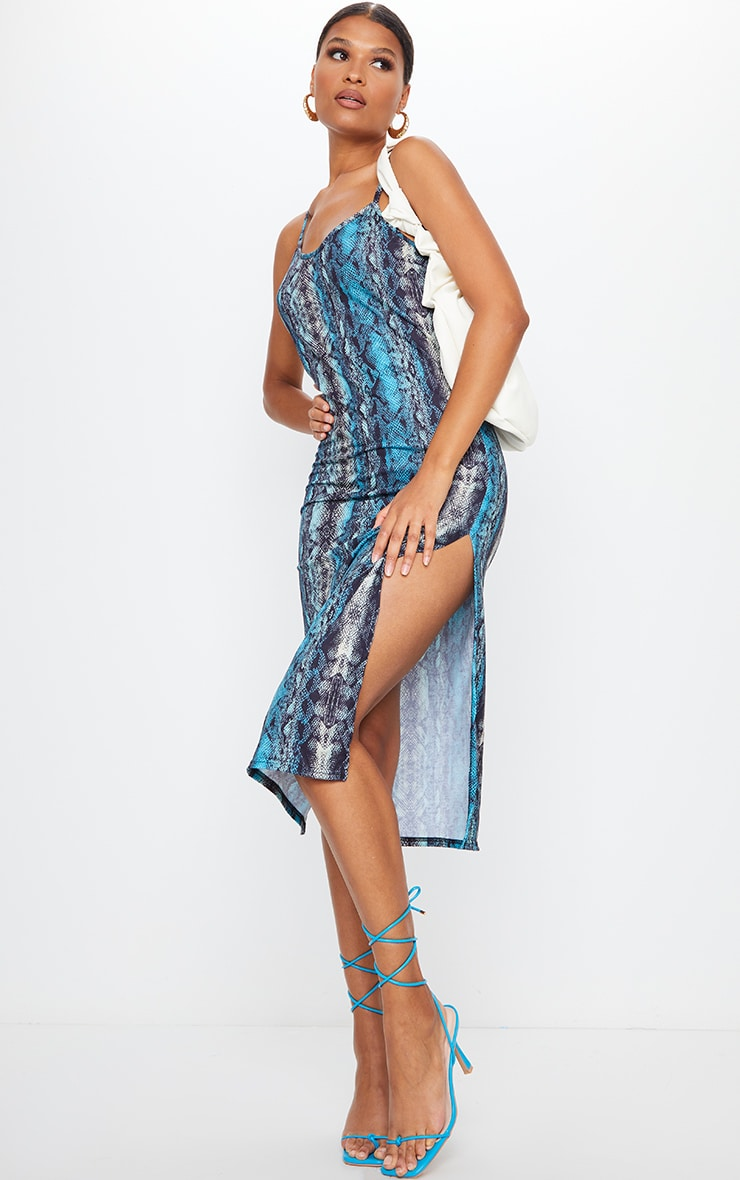 Teal Snake Print Jersey Split Cami Midi Dress 1