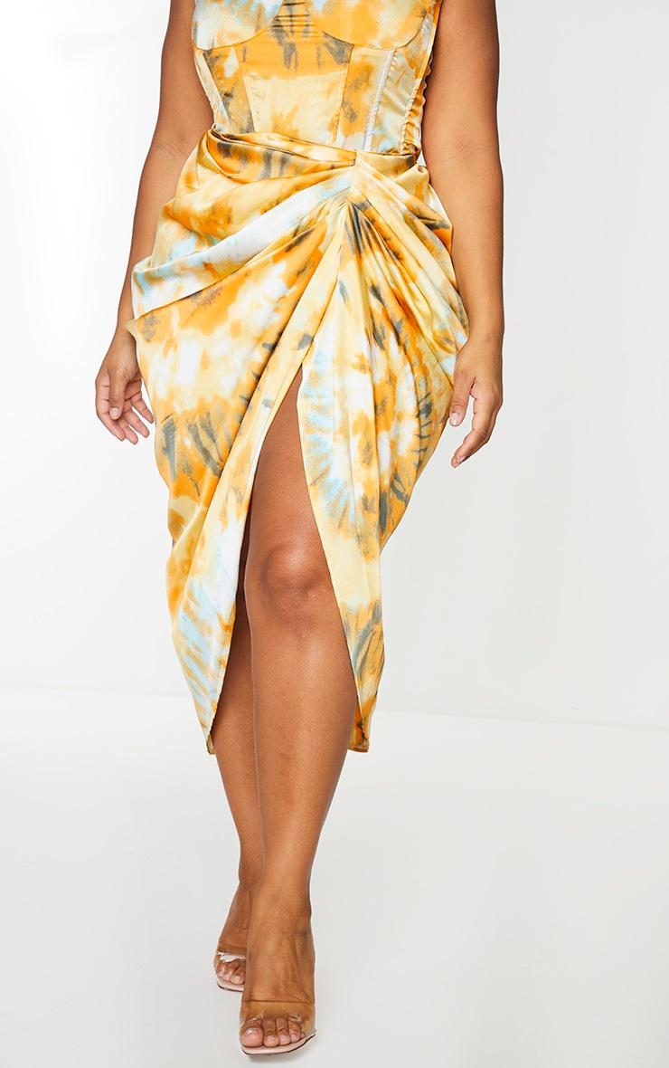 Plus Orange Tie Dye Ruched Side Midi Skirt 2