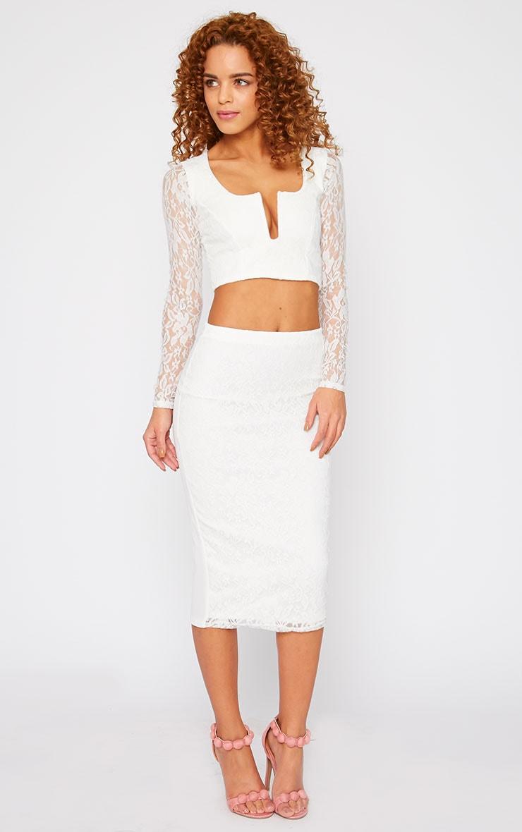 Danita Cream Lace Front Midi Skirt 1