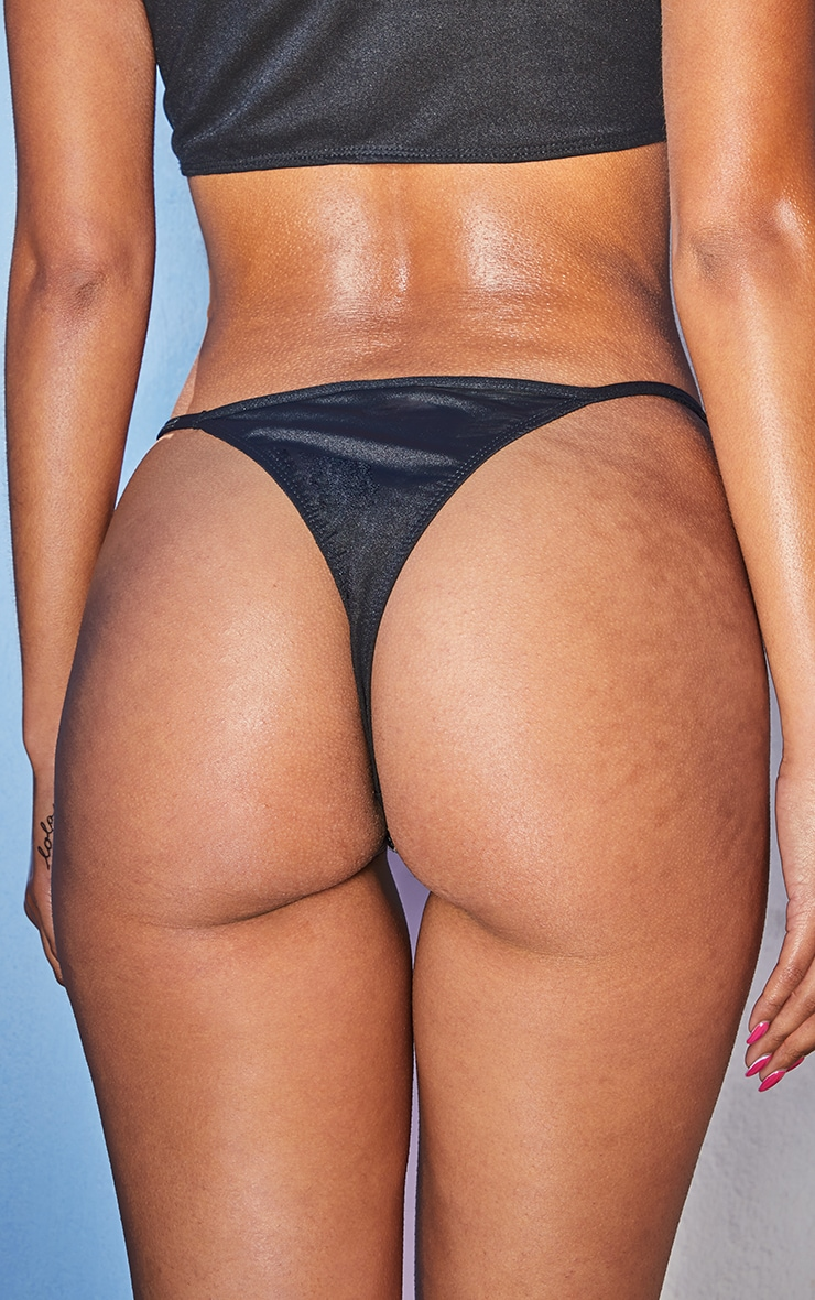PRETTYLITTLETHING Black All Over Diamante Tanga Bikini Bottom 3