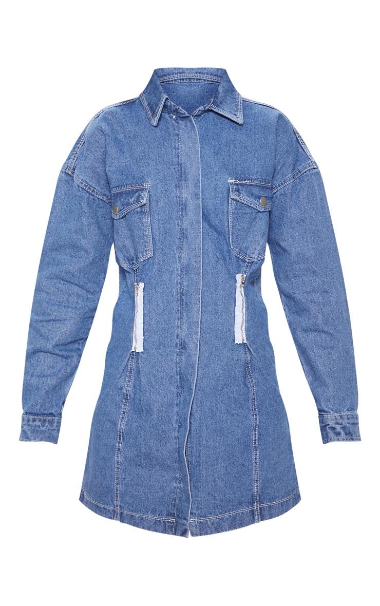 Mid Wash Utility Contrast Stitch Dress 3