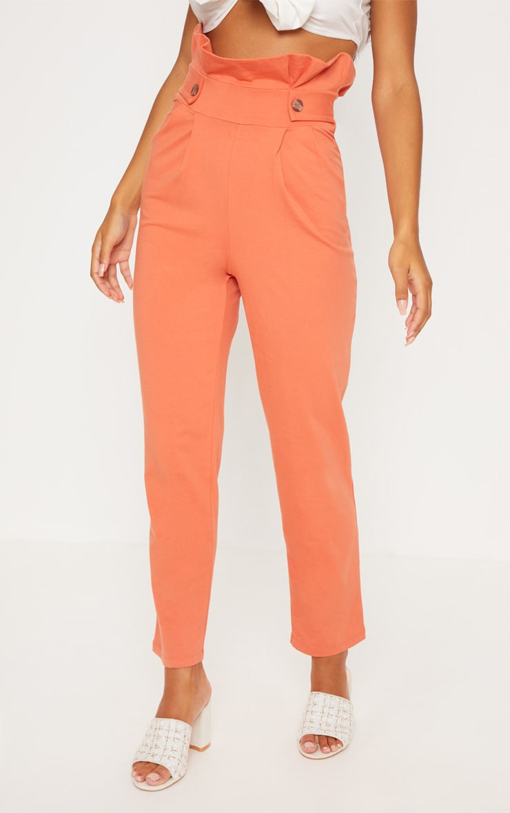 Burnt Orange Button Detail Tapered Trousers 2