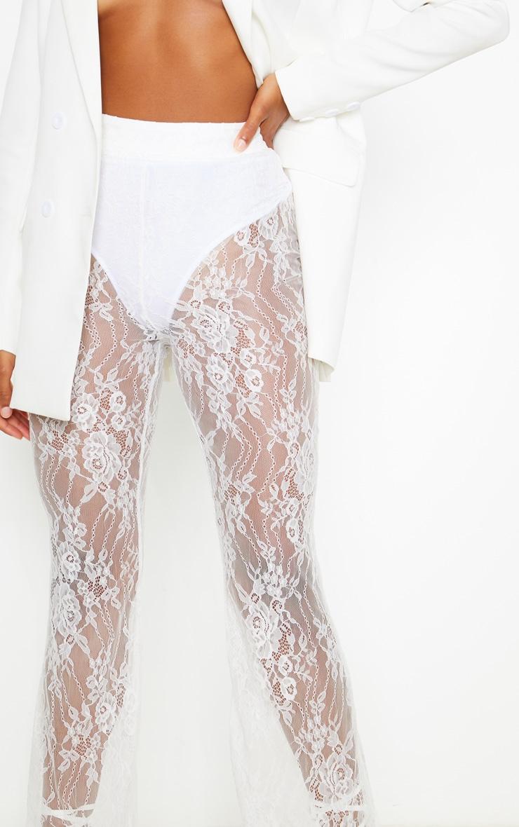 White Lace Flare Leg Trouser 5
