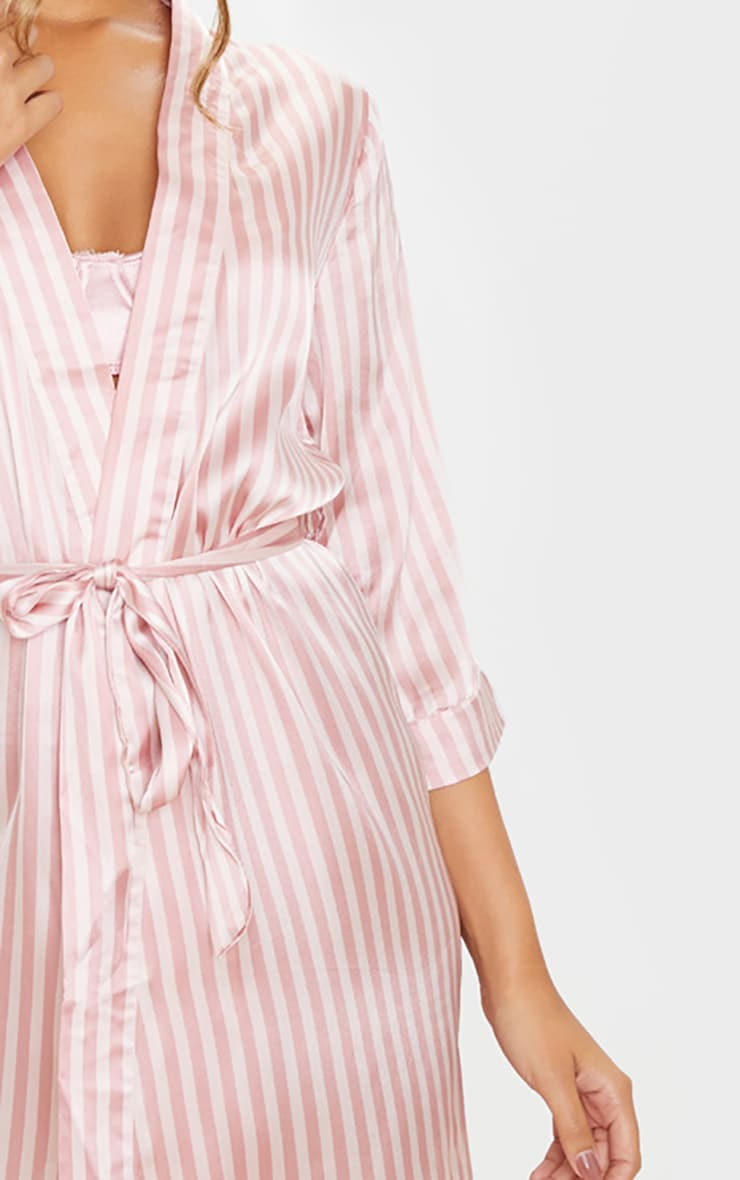 Baby Pink Stripe Satin Robe 5