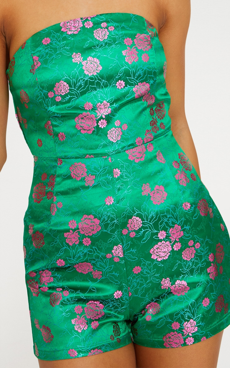 Green Floral Jacquard Playsuit 5