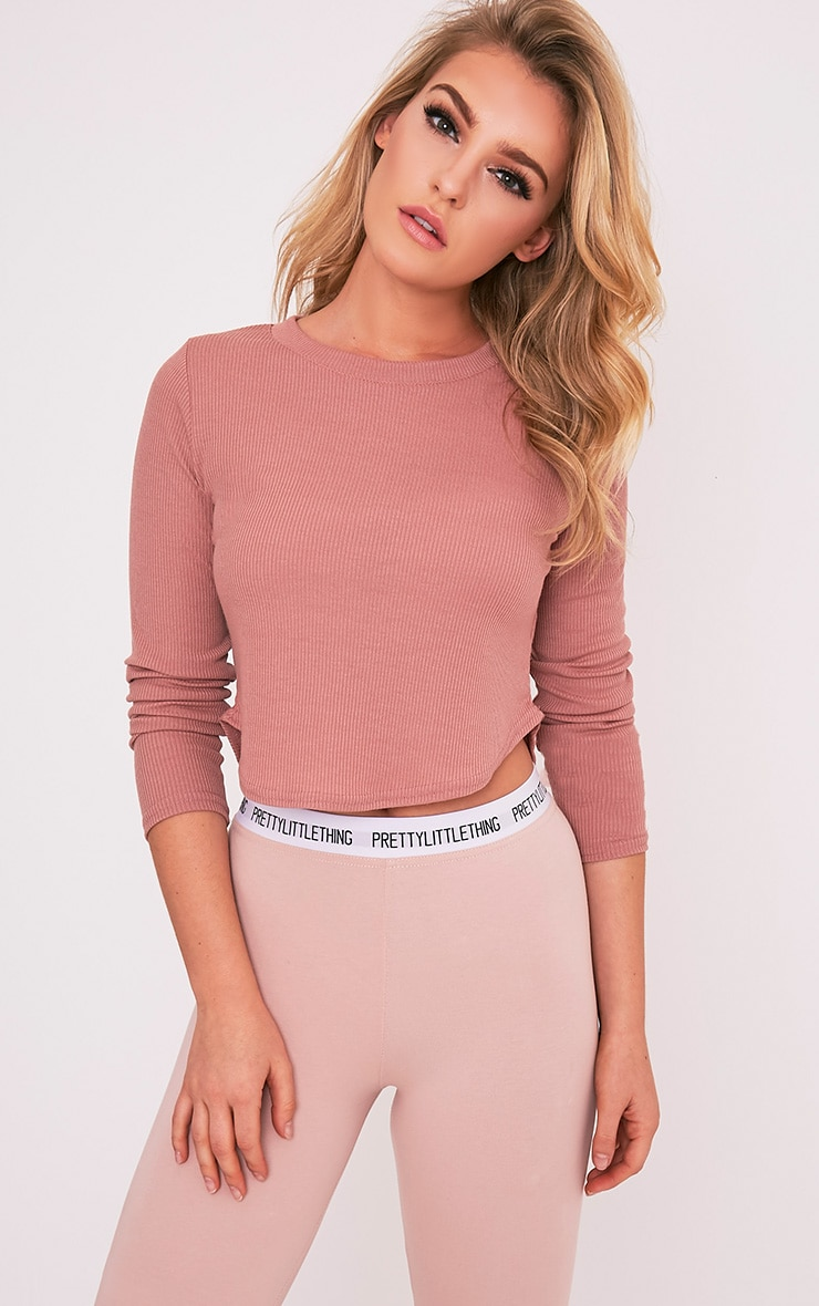 Rava Rose Jersey Rib Curved Hem Top