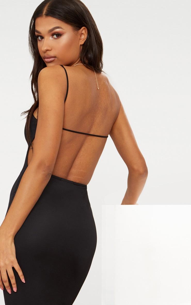 negro vestido midaxi recto espalda 5 tirantes con Cuello qz65H6