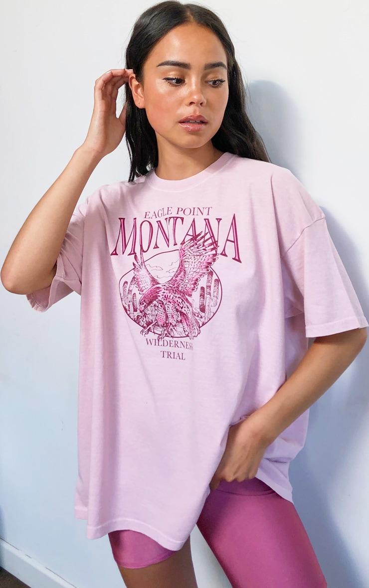 Pink Montana Logo Oversized Washed T Shirt 1