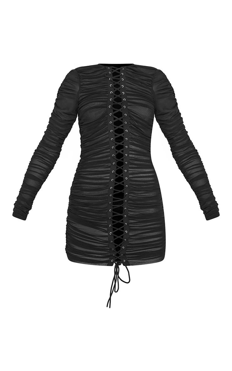 Robe moulante en mesh froncé noir à manches longues et laçage 5