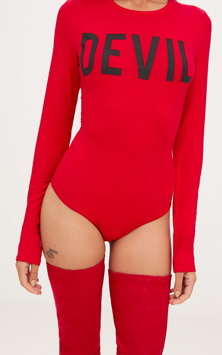 Red Devil Horns Slogan Jersey Thong Bodysuit 5