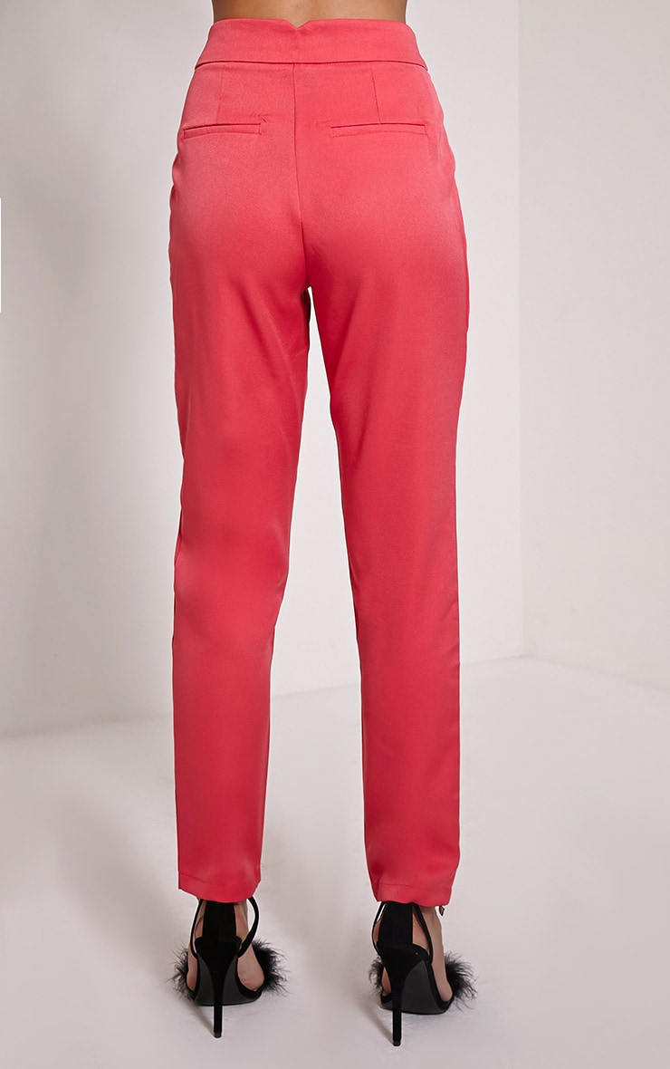 Floss Pink High Waisted Tapered Trousers 5