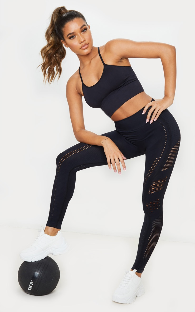 Black Seamless Strappy Sports Bra 3