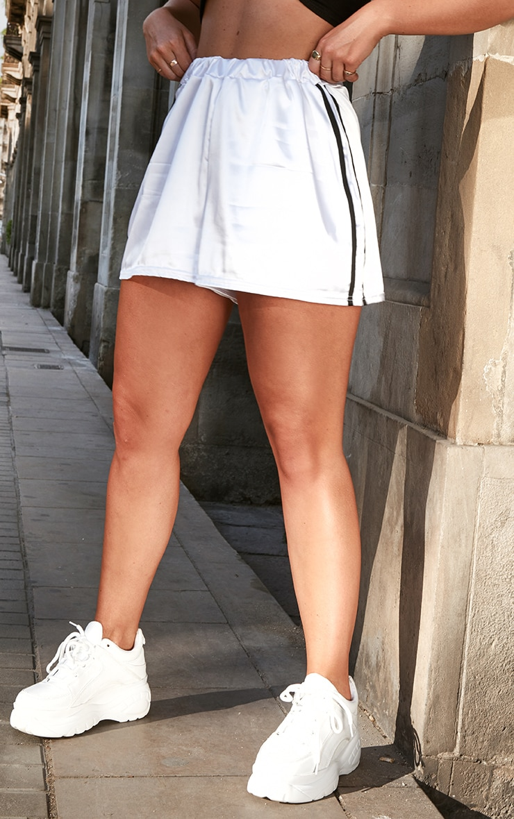 White Satin Side Stripe Runner Shorts 2