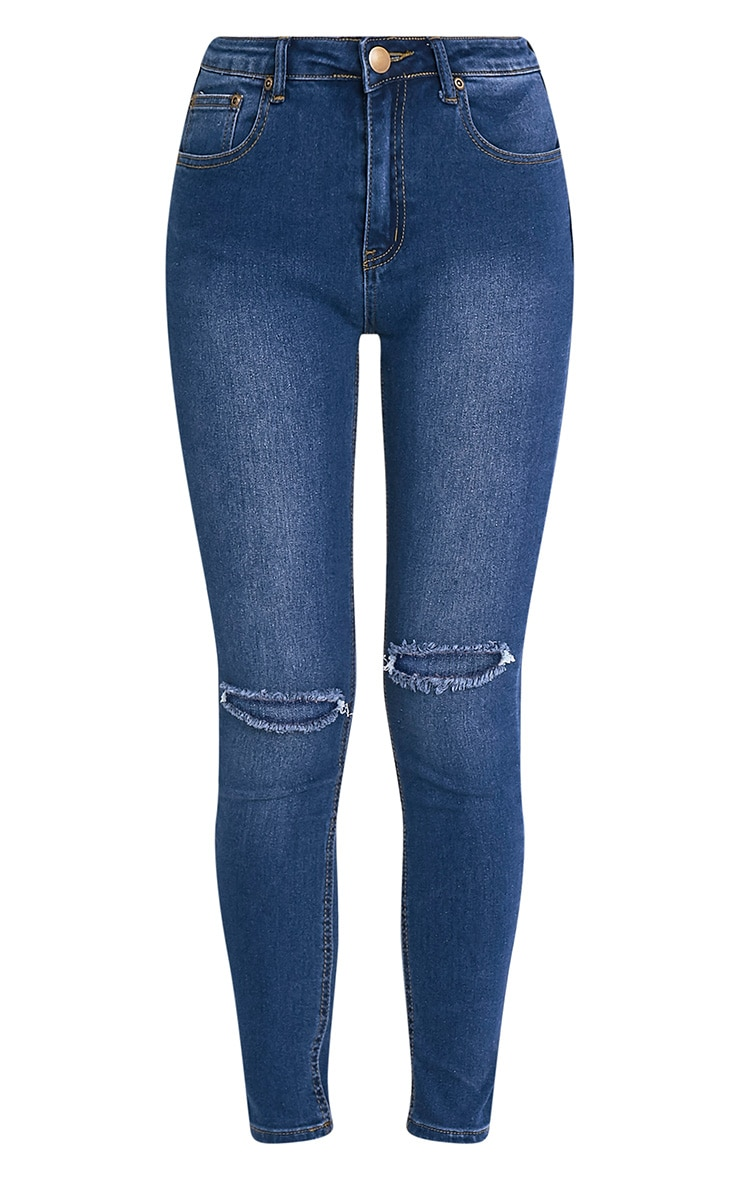 Mid Wash Knee Rip Slim Jean 4