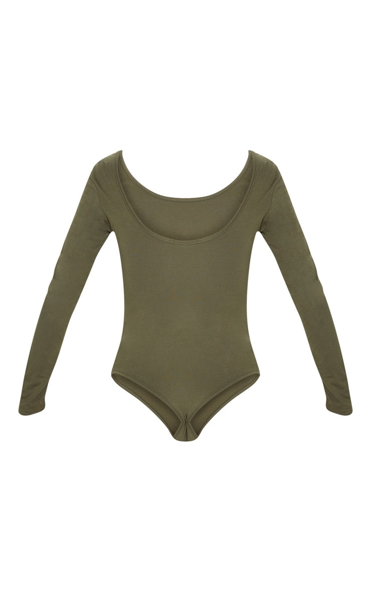 Basic Khaki Scoop Back Long Sleeve Bodysuit 4