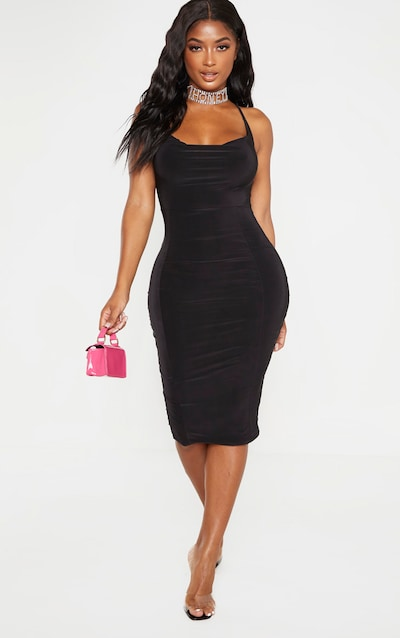 Shape Black Slinky Cowl Necked Midi Dress