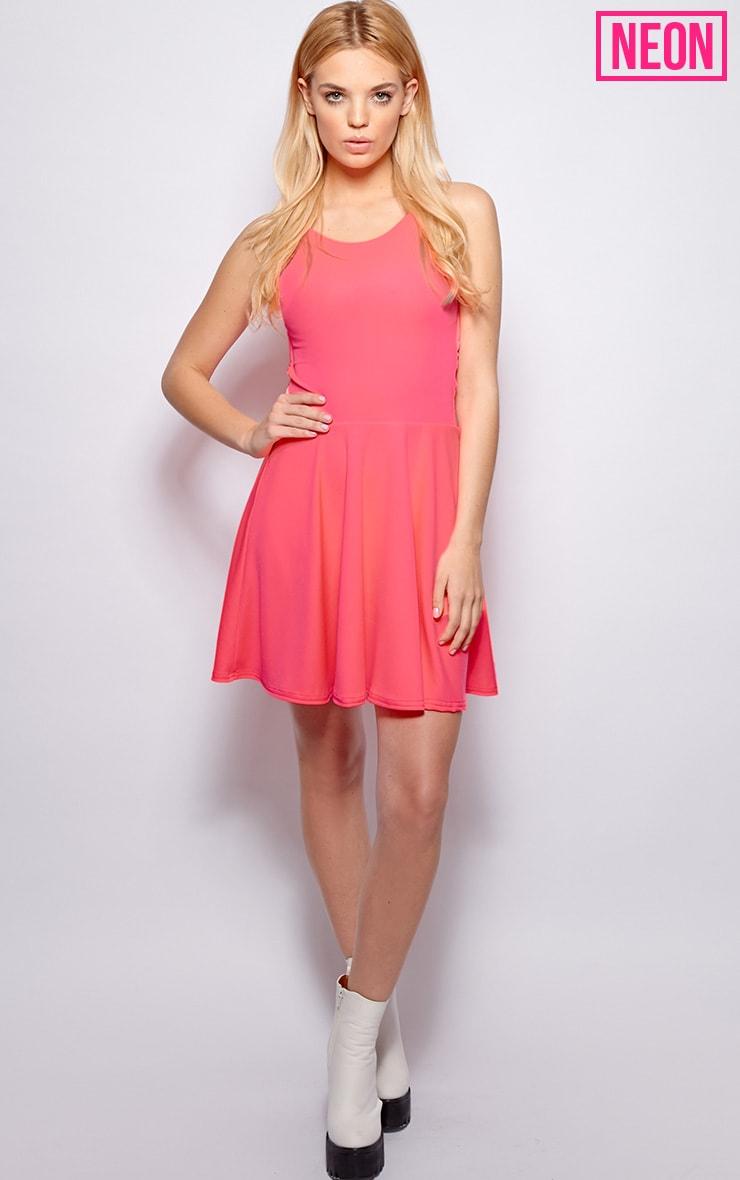 Robin Neon Pink Strappy Skater Dress 3