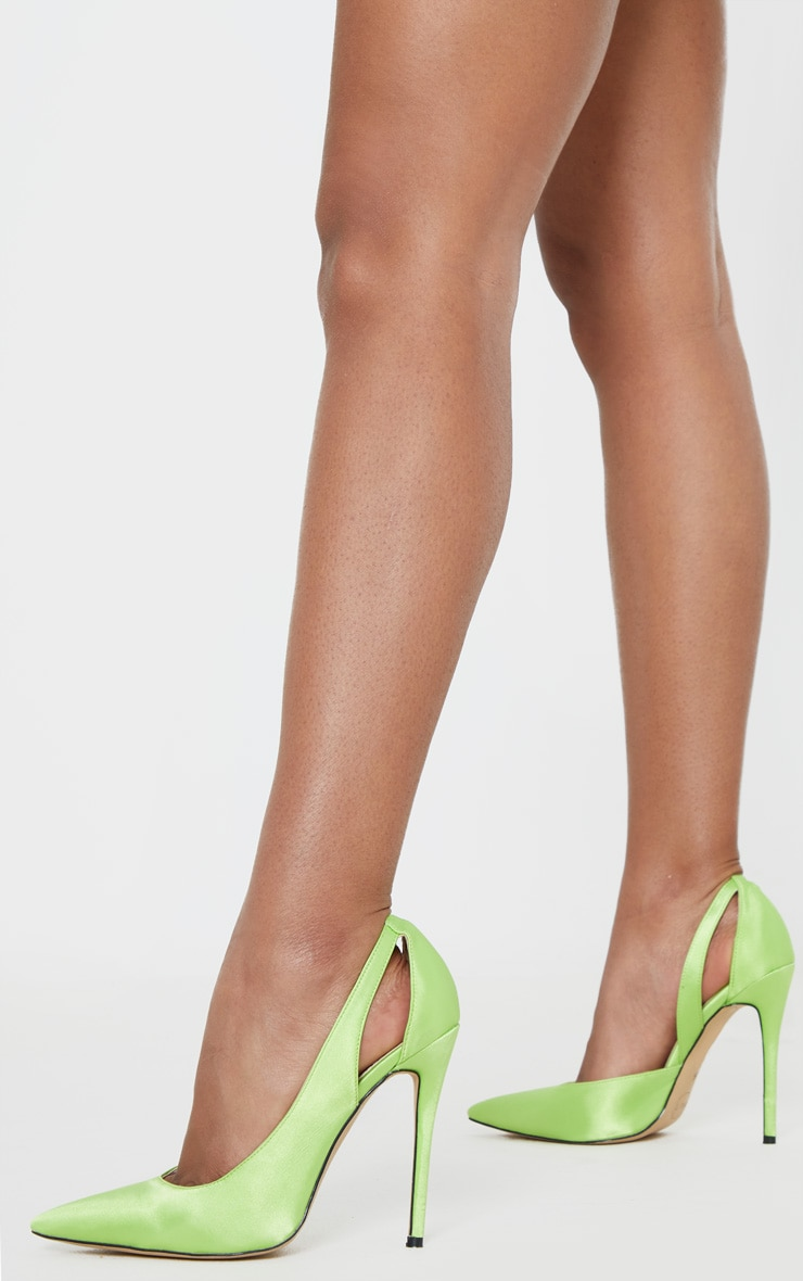 Lime Satin Cut Out Heel Court Shoe 1