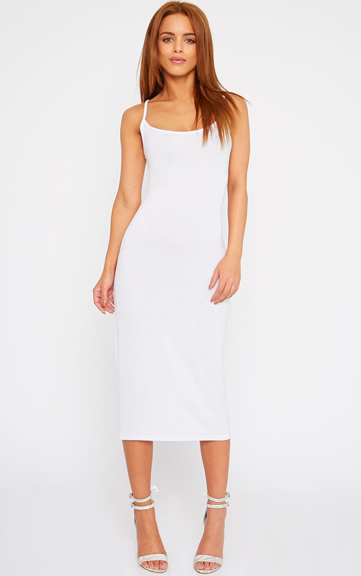 Basic White Midi Vest Dress 1