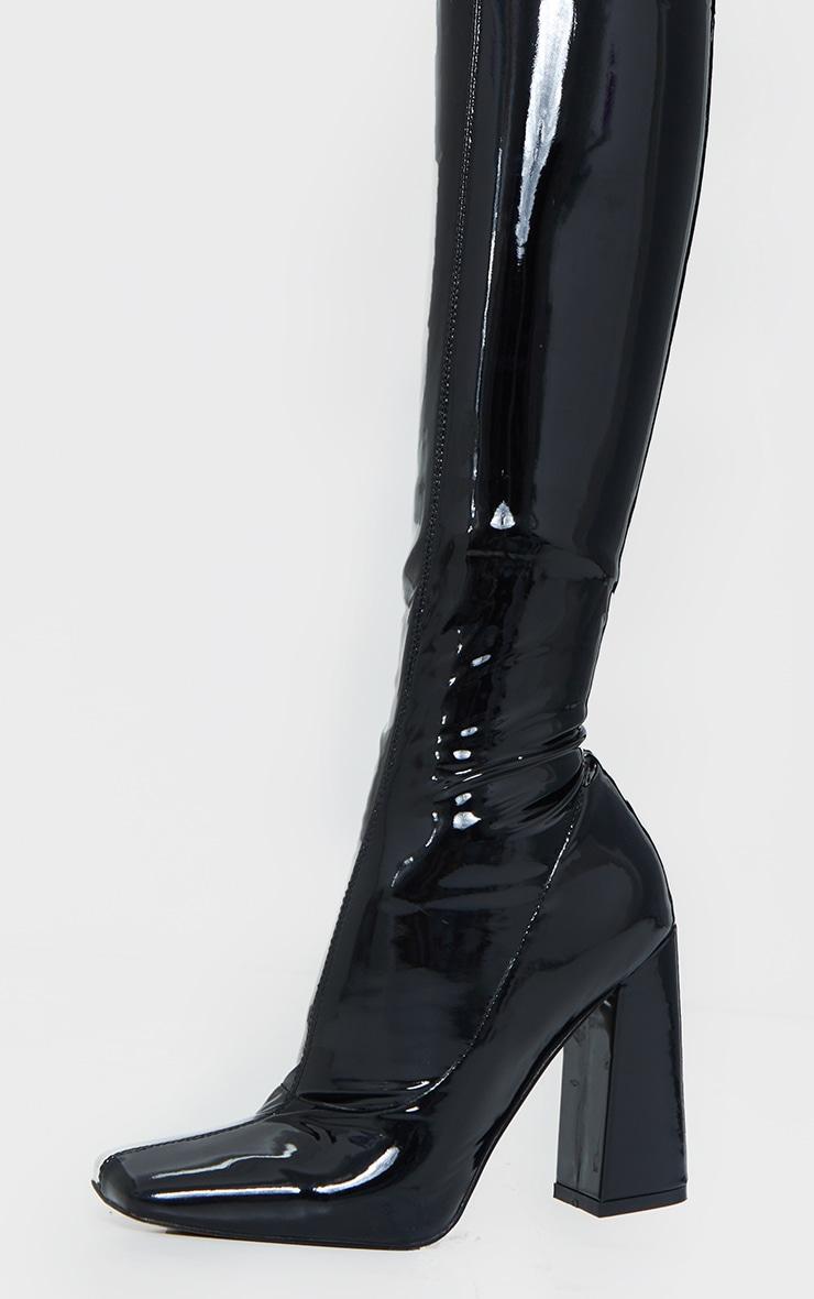 Black Vinyl PU Square Toe Over The Knee Heeled Boot 3