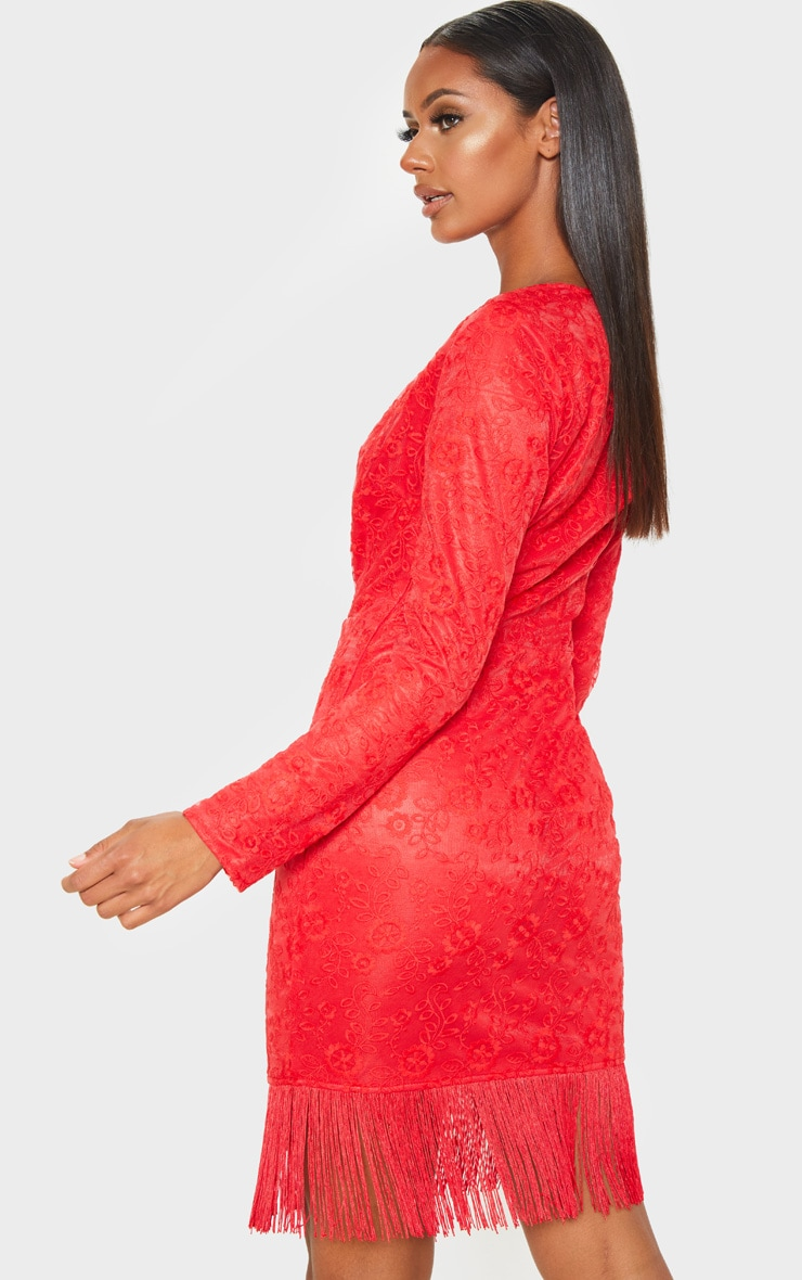 Red Lace Tassel Hem Bodycon Dress 2