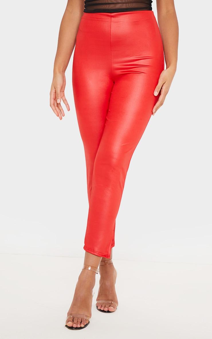 Red Wet Look Cropped Slit Hem Legging  2