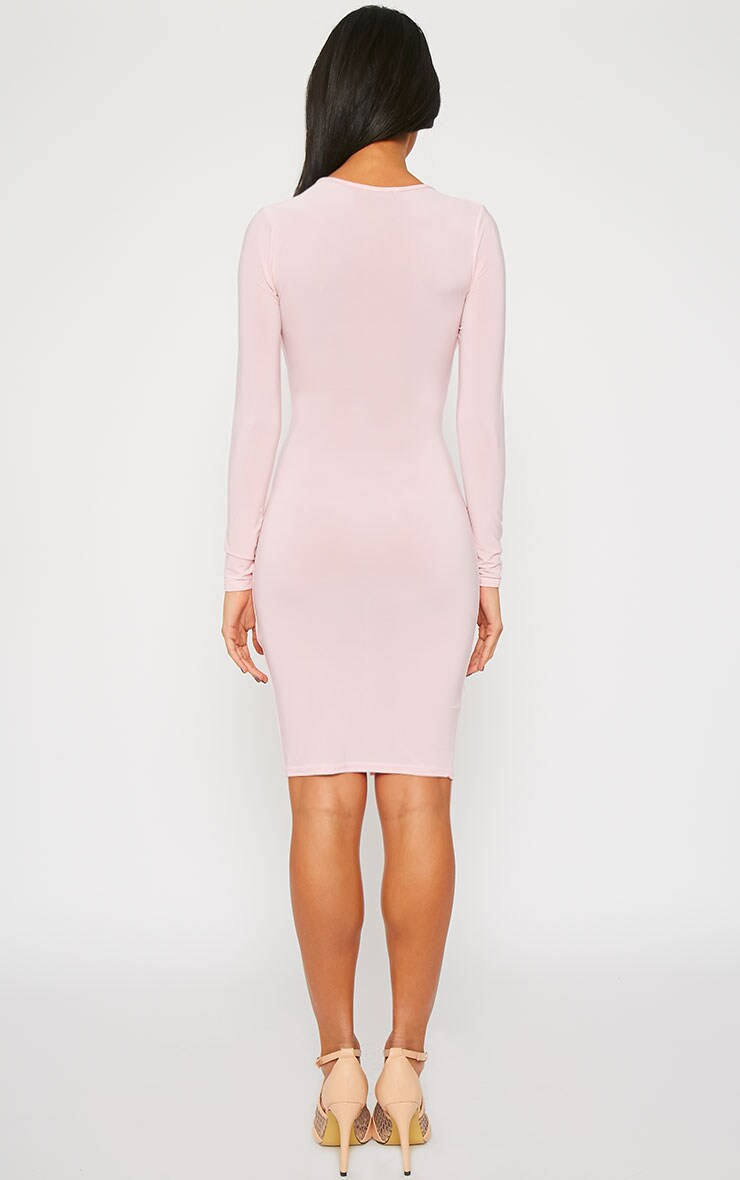 Iona Baby Pink Slinky Wrap Over Gathered Mini Dress 3