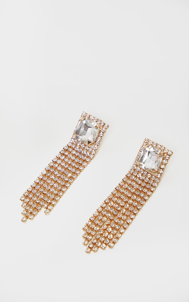 Gold Square Crystal Diamante Tassel Statement Earring 3