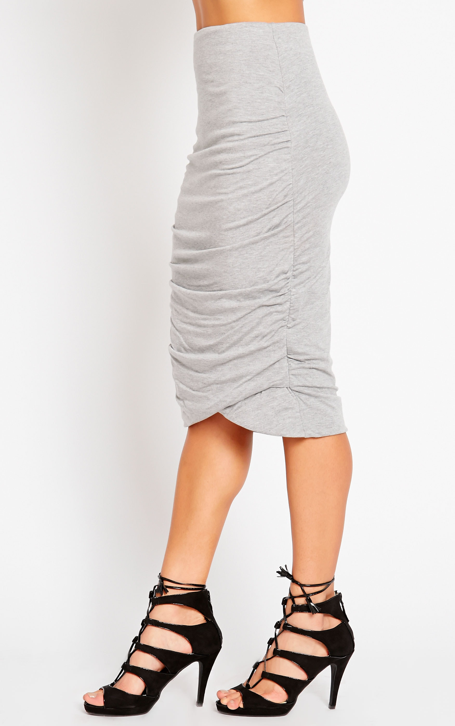 Asia Grey Jersey Ruched Midi Skirt 3