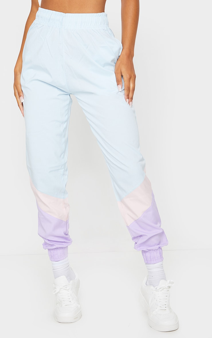 Blue Contrast Panel Peached Joggers 2