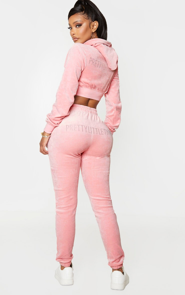 PRETTYLITTLETHING Shape Dusty Pink Velour Skinny Jogger 1