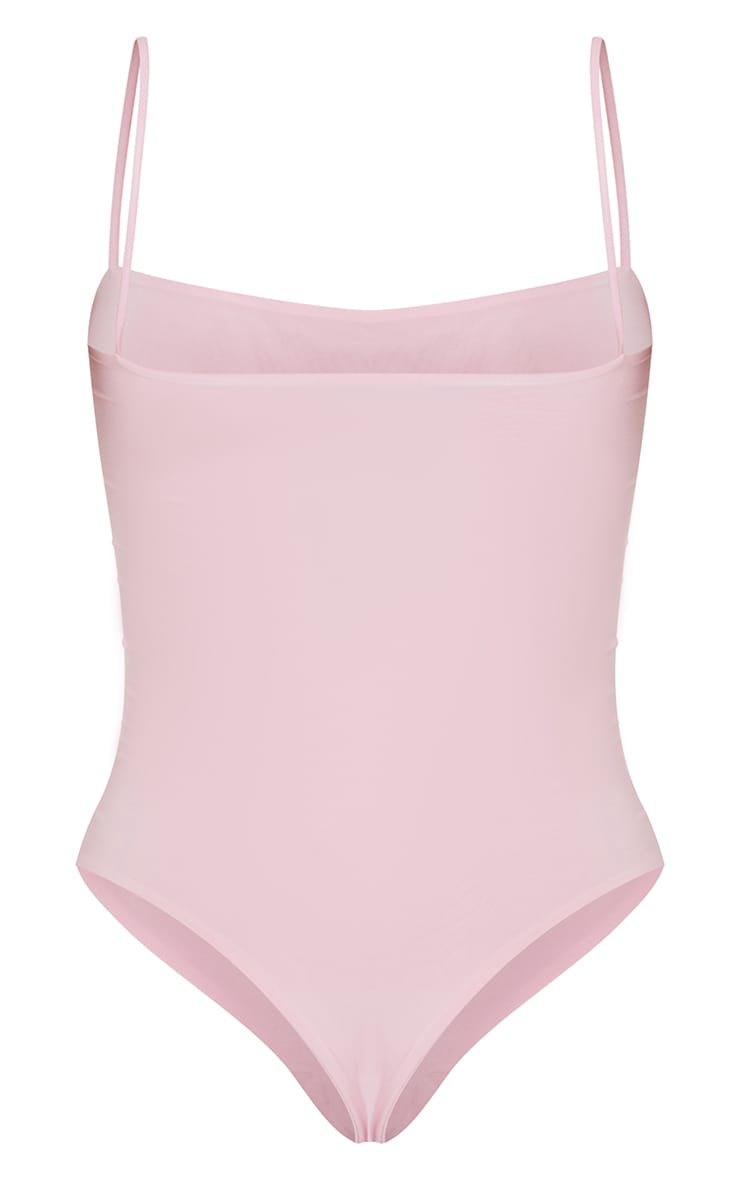 Baby Pink Slinky Square Neck Spaghetti Strap Bodysuit 6