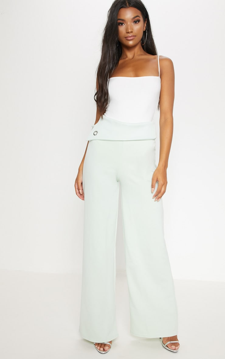 Mint Scuba Turn Over Waist Wide Leg Trouser