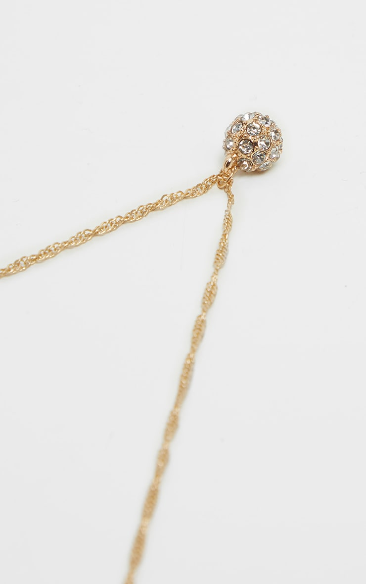 Gold Twist Pave Ball Charm Necklace 4