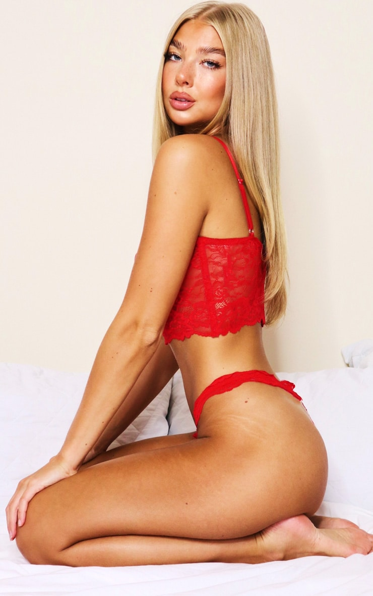 Red Lace Underwired Bralet And Thong Lingerie Set 3