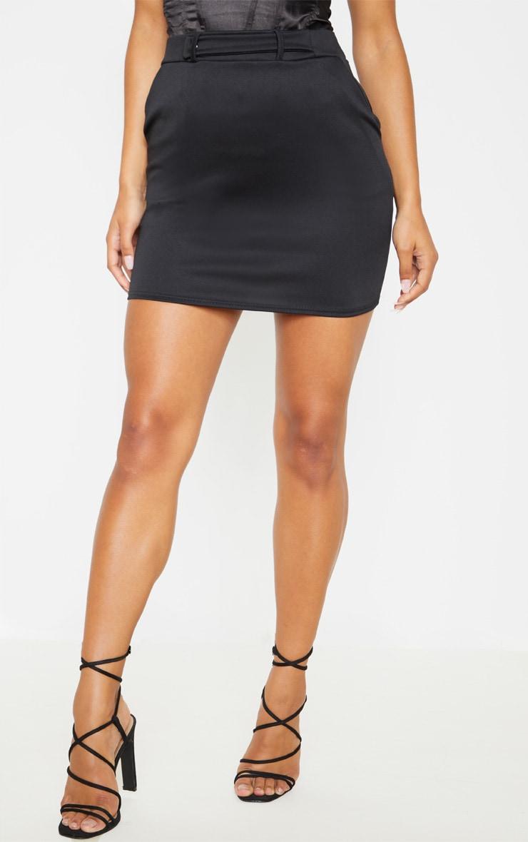 Black Basic Pocket Detail Mini Skirt  2