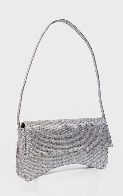 Silver Textured Glitter Flap Over Baguette Shoulder Bag