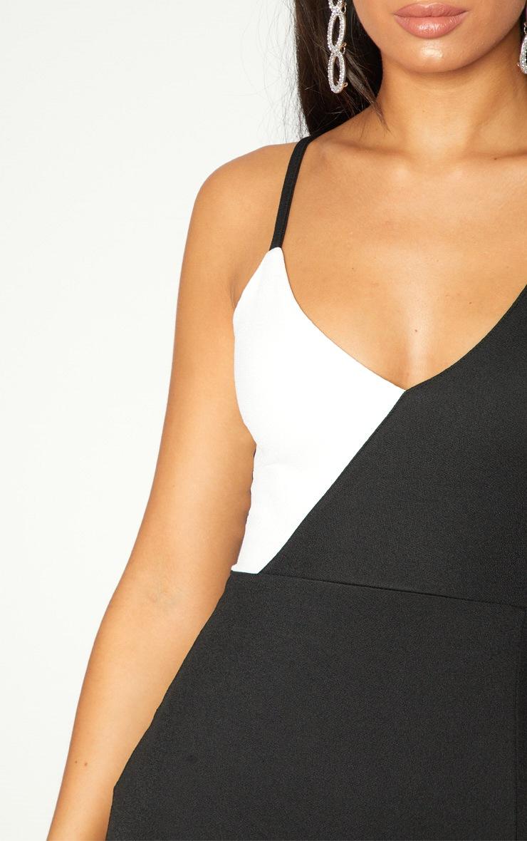 Black Colour Block Asymmetric Sleeve Maxi Dress 5