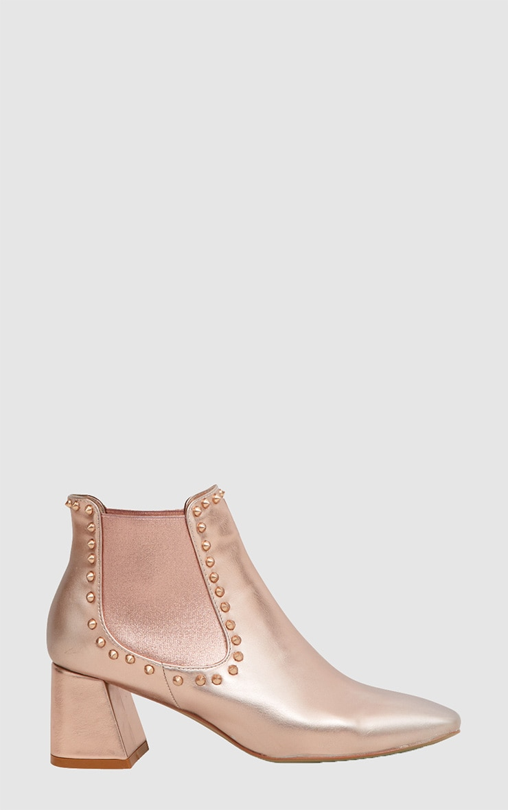 Rose Gold Studded Block Heeled Ankle Boots 3